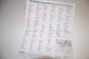 categorized grocery list
