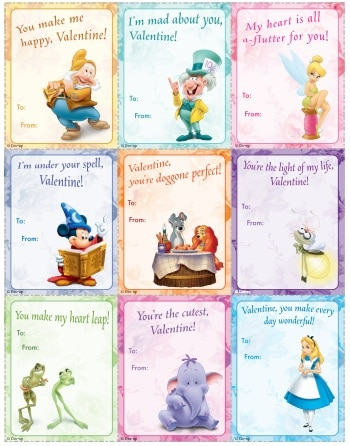 FREE Printable Disney Valentine Cards | The Frugal Free Gal