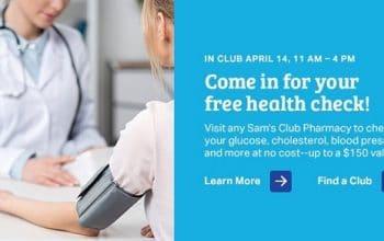 FREE Health Screenings at Sam's Club on 4/14! (membership NOT required!)