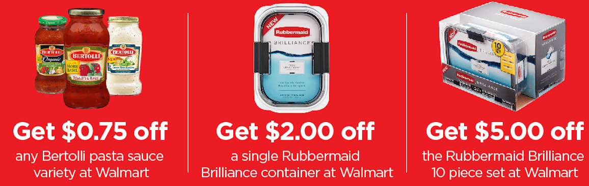Shop at Walmart for Rubbermaid® Brilliance™ Containers and Bertolli® Sauces & Earn Cash Back!