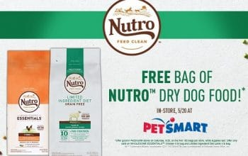 FREE 4-5lb Bag of Nutro Dog Food at PetSmart Stores on 5/20