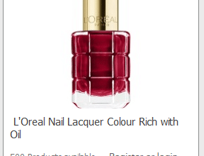 FREE L'Oreal Colour Rich with Oil Nail Polish	(sign up now!)