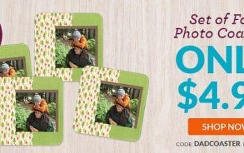 Set of 4 Custom Photo Coasters Only $4.99! (reg $19.99)