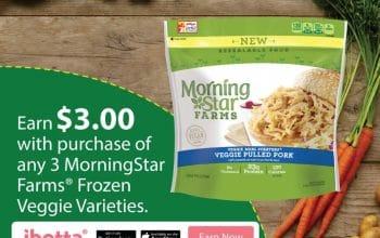 Earn $3 with Purchase of (3) MorningStar Farms® Frozen Veggie Varieties