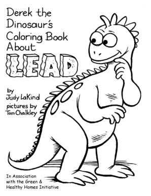 FREE Derek the Dinosaur\'s Coloring Book About Lead | The Frugal Free Gal