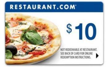 FREE $10 Restaurant.com eGift Card