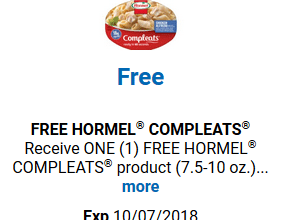 FREE Hormel Compleats for Kroger (and affiliate) Shoppers!