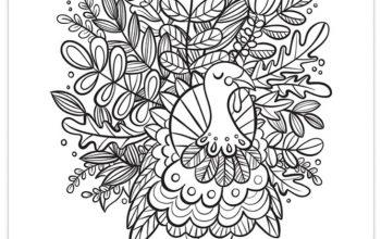FREE Foliage Turkey Coloring Page