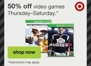 Target: 50% off Video Games + Free Shipping (Ends Today)