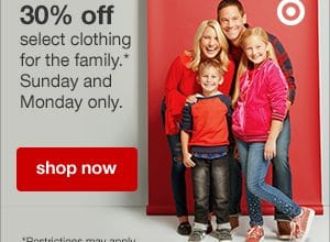 Target: 30% off select clothing for the family