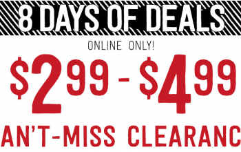 8 Days of Christmas Sale (Web Exclusive: Epic Clearance $2.99-$4.99) at Crazy8 (Ends 12/10)