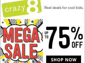 Extra 20% off entire purchaseANDfree shipping at Crazy 8!(Free Shipping ends 1/1)