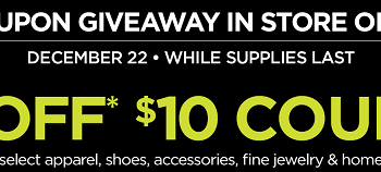 FREE $10 off $10 Purchase at JCPenney Coupon on 12/22