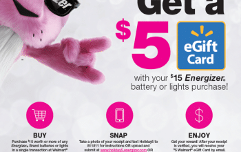 Get a $5 Walmart eGift Card with your $15 Energizer® Battery or Lights Purchase