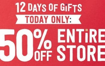 Crazy8: 12 Days of Gifts Day 8 – 50% Entire Store! (today only)