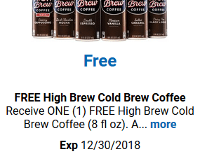 FREE High Brew Cold Brew Coffee for Kroger (and affiliate) Shoppers!