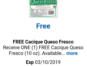 FREE Cacique Queso Fresco for Kroger (and affiliate) Shoppers!