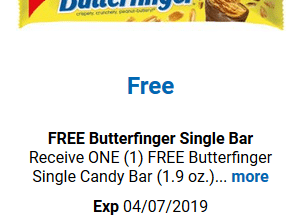 FREE Butterfinger Bar for Kroger (and affiliate) Shoppers!