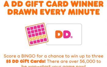 (I won!) Dunkin' Bingo Instant Win Game – 56,160 Winners (Ends 8/15)