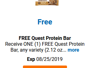 FREE Quest Protein Bar for Kroger (and affiliate) Shoppers!