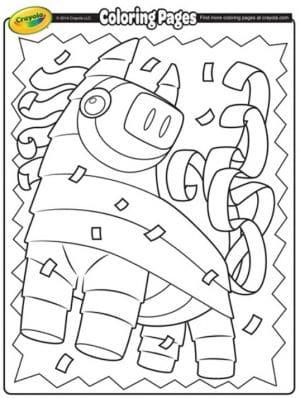 FREE Printable Cinco de Mayo Pinata Coloring Page