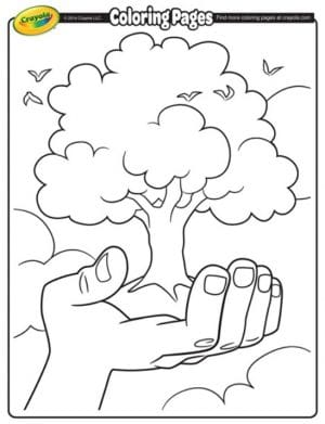 FREE Printable Earth Day Tree Coloring Page