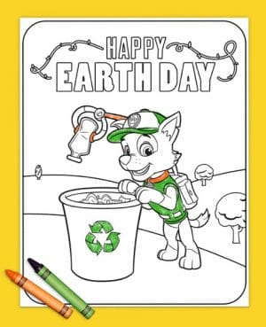 FREE Printable Paw Patrol Earth Day Coloring Page