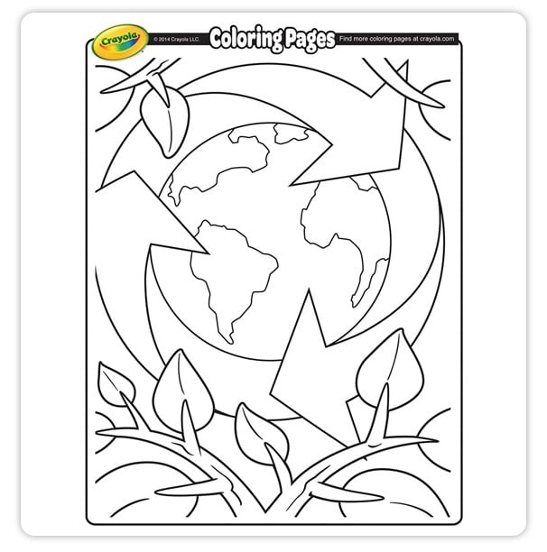 FREE Printable Earth Day Recycling Coloring Page